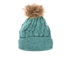 wholesale fur pom marled knit beanies