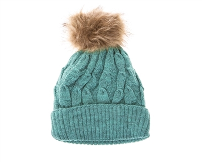 39bf5ec02a4 Wholesale Fur Pom Marled Knit Beanie Hats