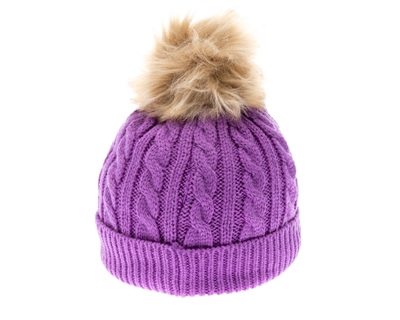 Wholesale Kids Knit Beanie Hats - Fur Pom
