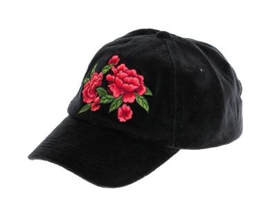 a8d7e5eab 7030-88 Black Velvet Baseball Cap w/ Embroidery