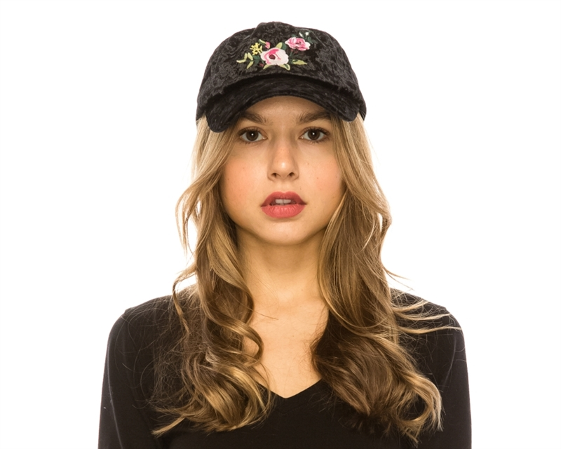 d04fff6a397 Wholesale Unisex Fashion Baseball Hats - Crushed Velvet W Embroidery