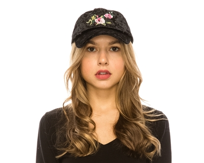 wholesale velvet fashion caps - wholesale embroidered womens baseball hats