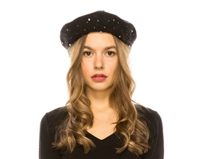 wholesale Rhinestones Wool Beret