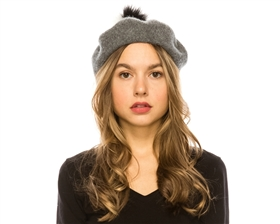 wholesale 2-Tone Fur Pom Wool Beret