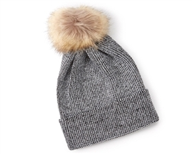 wholesale Fur Pom Lurex Beanie