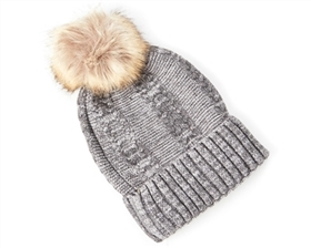 wholesale Fur Pom Marled Beanie