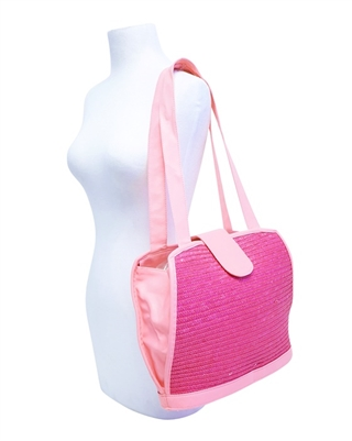 bulk straw handbags - wholesale neon colors pink green yellow