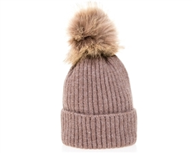 wholesale Kid's Earth Tones Fur Pom Beanie