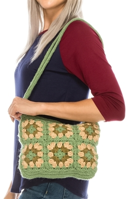 wholesale crocheted purses vintage inspired green flower