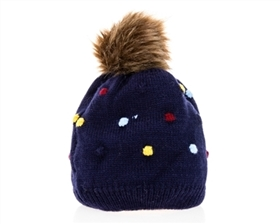 wholesale Kid's Polka Dot Fur Pom Beanie