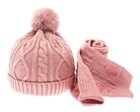 wholesale Kid's Cable Knit Pom Pom Beanie