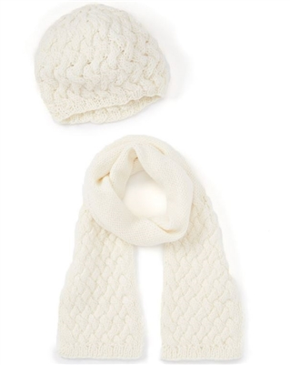 wholesale chunky knit beret and scarf
