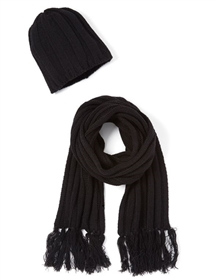 wholesale black knit beanie and scarf set