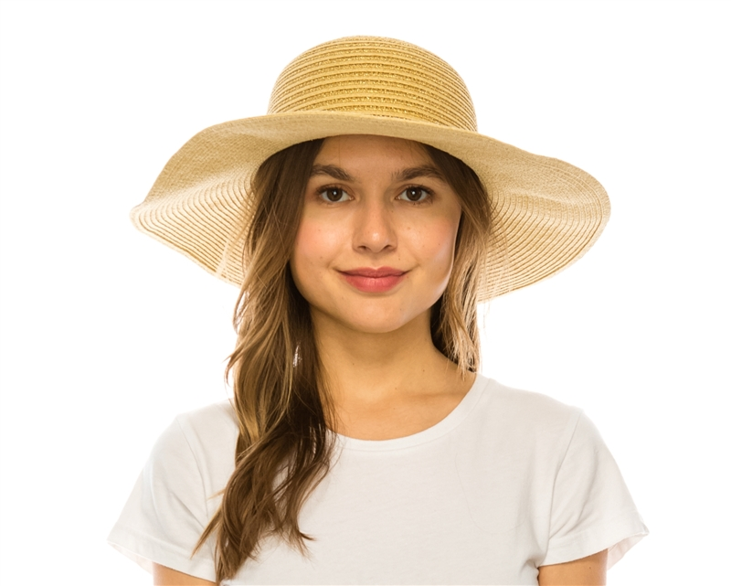 00dafbf3f 718 Straw Floppy Hat w/ Metallic Stripes