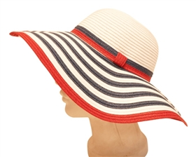 Wholesale Wide Brim Sun Hats - Floppy Red White Blue