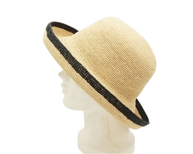 Wholesale Organic Raffia Hats - Turn Up Hat