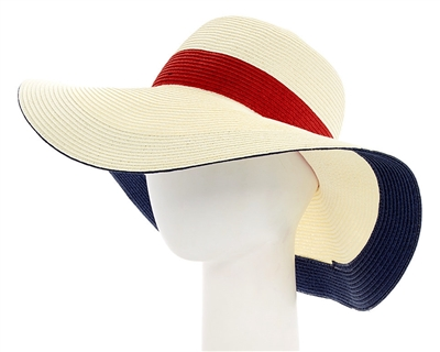 4cac7007157 wholesale womens hats - packable straw sun hats - nautical colorblock  pattern