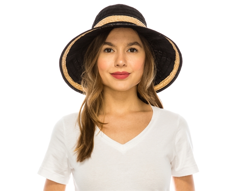 wholesale womens hats - packable crusher hat in black white with raffia trim 333ded3f7ebc