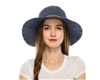 wholesale upf 50 protection hats - womens packable denim crusher travel hat