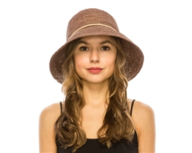 785-1 Brown Fine Crochet Raffia Bucket