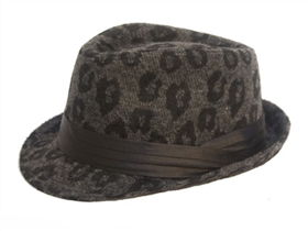 bulk fashion fedora hats - furry leopard print fedoras wholesale