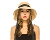 wholesale Fine Raffia Crochet Hat w/ Chin Sash