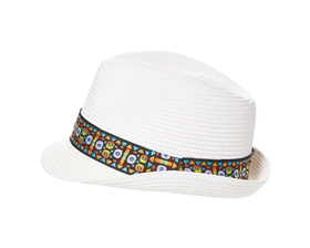 wholesale womens straw fedora hats - beach fedoras with tribal band