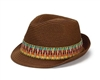 womens wholesale straw fedora hats - womens beach fedoras - tribal band