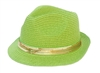 wholesale straw fedora hats bright colors sequin band