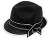 wholesale dress fedora hats - straw church fedoras - black white