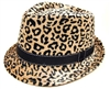 wholesale sleek leopard fur fedora