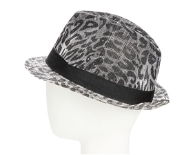 wholesale sinamay fedora hats black animal print