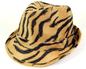 wholesale furry tiger print fedora