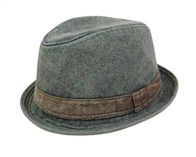wholesale dress hats - wholesale stonewashed denim fedoras