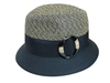 wholesale 2-tone tweed straw fedora w/ buckle