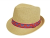 wholesale paper fedora  fuchsia-orange tribal band