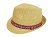 wholesale straw fedora hats - summer fedoras - fuchsia-lime band