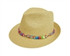 Wholesale Straw Fedora Hats - Straw Fedora w Multicolor Braided Band