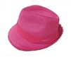 bulk cheap straw fedora hats - fuchsia womens fedoras chiffon band hat