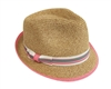 wholesale straw fedora  striped band and brim