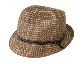 wholesale straw fedora hats unisex - polyester blend - leather band
