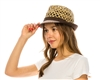 wholesale open weave fedora  fabric brim