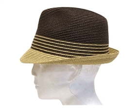 wholesale men's 2-tone straw fedora  striped band