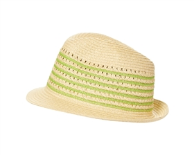 wholesale straw fedora hats beach resort striped open weave crown