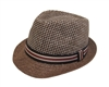 wholesale 2-tone straw fedora hat striped band