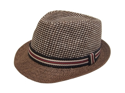 2bce00d87222f wholesale 2-tone straw fedora hat striped band