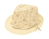 wholesale straw fedora flower print suede strings band