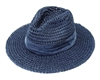 Wholesale Blue Panama Hats - Toyo Straw Navy Summer Hat