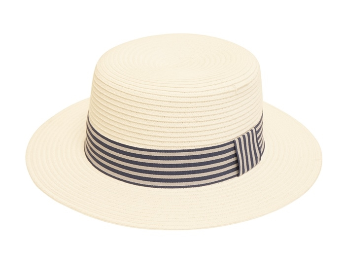 0891a900 Wholesale Boater Hats - White Straw Hat with Striped Band