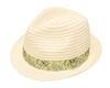 8056 Straw Fedora w/ Tropical Leaf Band